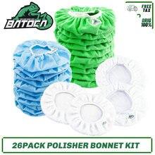 Batoca 26 pacote carro polimento kit bonnet polidor bonnets almofadas com microfibra, algodão, tecidos não tecidos, gorro de lã berbere