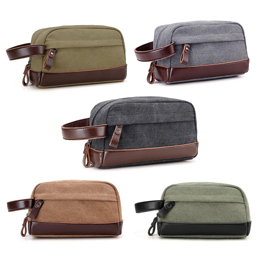 NoEnName_Null High Quality Zipper Men Travel Canvas Toiletry Bag Wash Shower Makeup Organizer Portable Case Pouch Faux Leather
