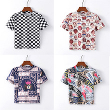 Artguy Black and White Plaid Peplum Stand Collar Top Gingham Pullovers Summer Casual Women Tshirt And Short Sleeve Tops