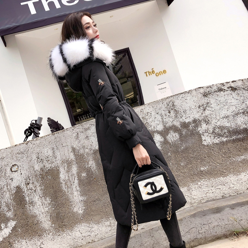 Winter Black Female Jacket + Raccoon Fur Hooded Korean Thick Warm Duck Down Jacket Ladies Slim Long Pink Coat Hiver Y1836