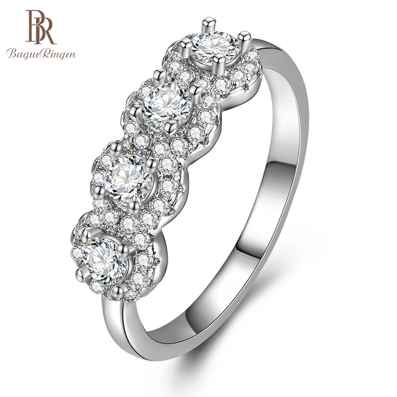 Bague Ringen Diamond Ring for Women Silver 925 Jewelry with Gemstones Trendy Female Wedding Rings Size5-11 Round AAA Zircon Gift