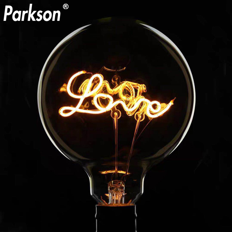 Retro Edison Bulb G125 LOVE Incandescent E27 Vintage Filament Bulb Industrial Edison Light Bulb Decor Lamp
