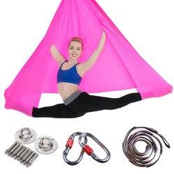 Volledige Set 5*2.8m Hoge Sterkte Nylon Anti-Gravity Yoga Hangmat Swing Yoga Opknoping Riem Home Gym fitness Body Building Apparatuur