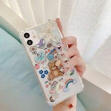 Funda con cadena para la muñeca para iPhone, carcasa transparente con dibujos animados, con cadena de oso, para iPhone 11, 11pro Max, 7, 8 Plus, XR, XS Max