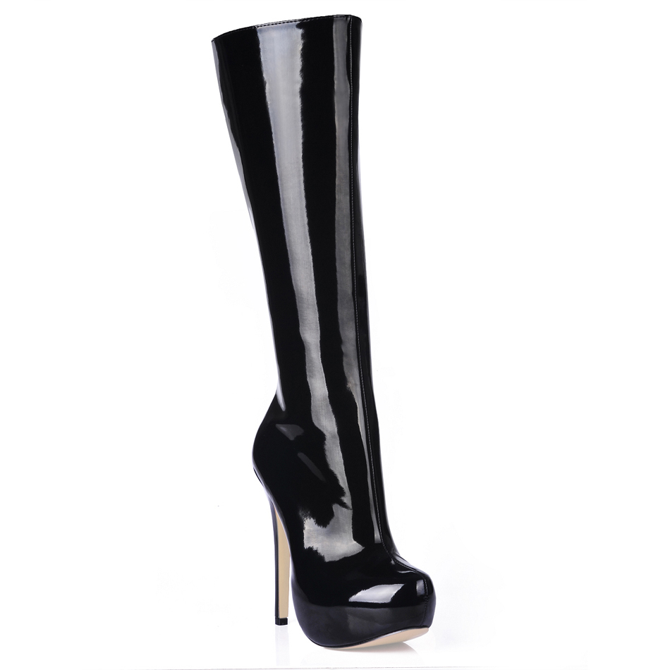 Women Stiletto High Heel Knee-High Boots Round Toe Black PU Platform Fashion Evening Party Ball Lady Office Long Boots 4BT-b2