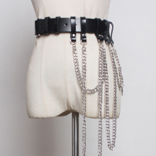 Punk Women Leather Belt With Chain Gothic Rock Harness Waist Metal Body Bondage Female Jeans