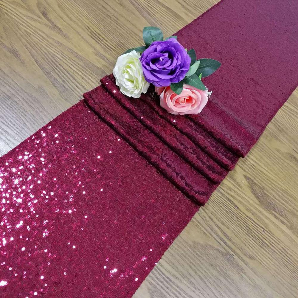 120Inches Sequin Table Runner Burgundy Christmas Table Decoration Table Runners For Dining Table-M1015