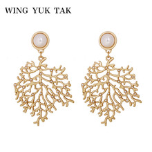 wing yuk tak Fashion Exquisite Temperament Leaf Tree Plant Dangle Drop Earrings Simulated Pearl Korean Earring For Women