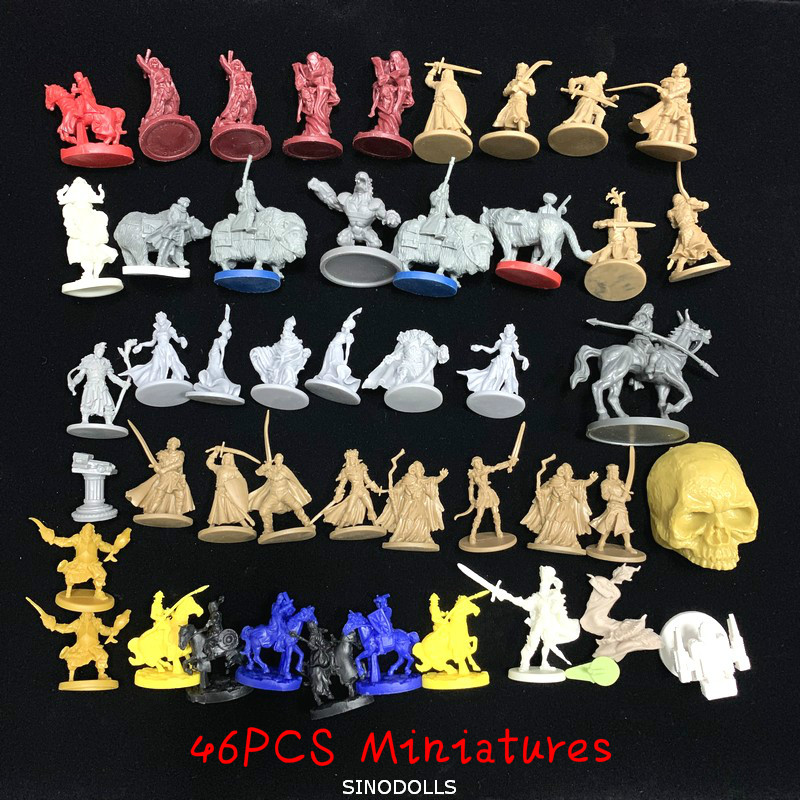 46pcs Dungeons And Dragons Board Role Playing Games Miniatures Model Underground City Series Cthulhu Wars Game Figures No Repeat