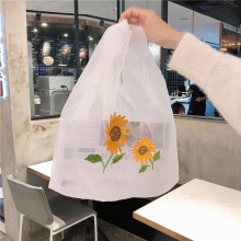 Small fresh sunflower flower shopping bag organza girl portable sundries transparent tote