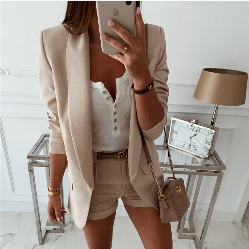 2019 Fashion Coat Women Autumn Winter Top Long Sleeve Office Lady Blazer Elegant Vintage OL Korean Blazer Streetwear