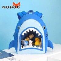 Nohoo School Rugzak Jongen Cartoon 3D Shark Blauw Kinderen Tas Waterdicht Neopreen Licht Gewicht Kleuterschool Schooltas Voor Kinderen