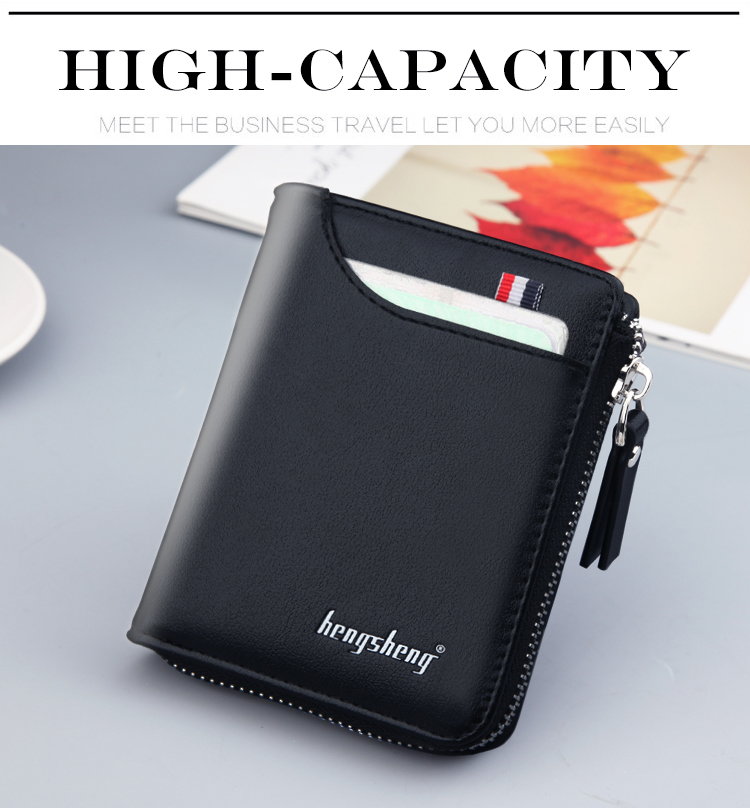 H176d70e5dd744b14adf6b2e62d618b91h - New Men's Genuine Leather Short Wallet Fashion Luxury Brand Coin Purse Driver's License Bag Purse For Men card Mini Wallet