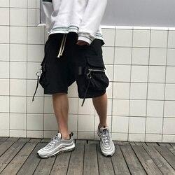 Мужские повседневные хлопковые шорты-шаровары Owen Seak, готические спортивные штаны в стиле хип-хоп, черные свободные шорты, размеры XL