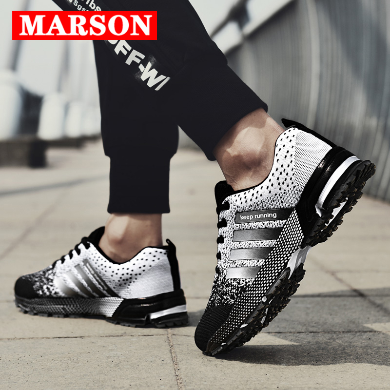 MARSON Men Shoes Casual Men's Sneakers Mesh Breathable 2019 New Fashions Sneakers Comfortable No-Slip Big Size Male Canvas Shoes