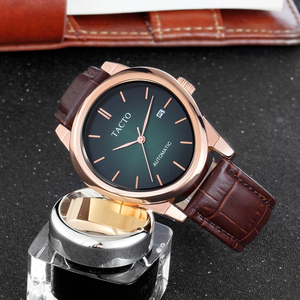 Nouvelles montres hommes à la mode Tacto Touch montres automatiques ovales en acier à la mode montre de sport en or Rose montre-bracelet homme 3Bar