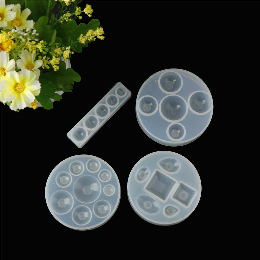 Craft DIY Transparent UV Resin DIY Liquid Silicone Mold for Earrings Necklace Making Jewelry Flat Round Cabochon Pendant Charms