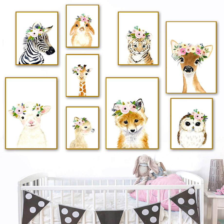 Deer Giraffe Owl Elephant Zebra Fox Llama Wall Art Print Canvas Painting Nordic Posters And Prints Wall Pictures Baby Kids Room in Painting Calligraphy from Home Garden