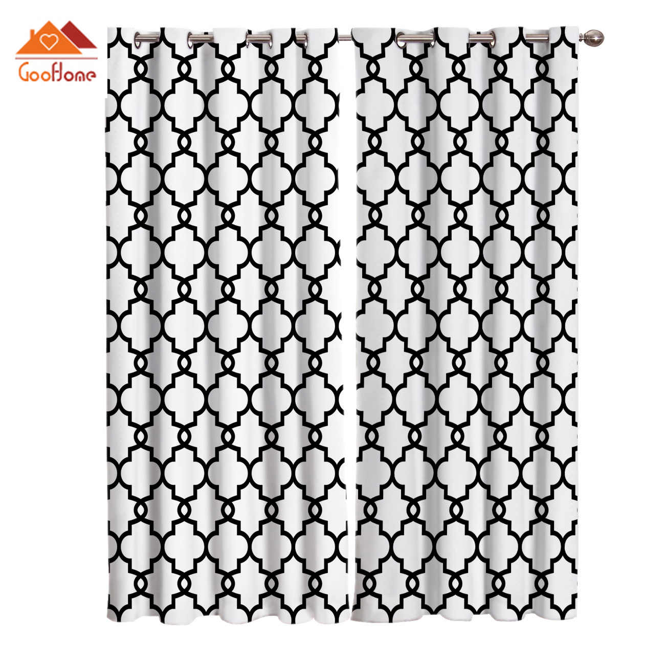 Classic Moroccan Geometric Checks White Window Curtains Living Room Outdoor Fabric Drapes Curtain Home Decor