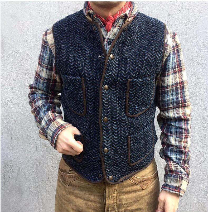 Men's Suit Vest Boutique Wool Tweed Slim Fit Leisure Cotton Male Gentleman Beckham Business Waistcoat For Wedding Groomsmen 2020