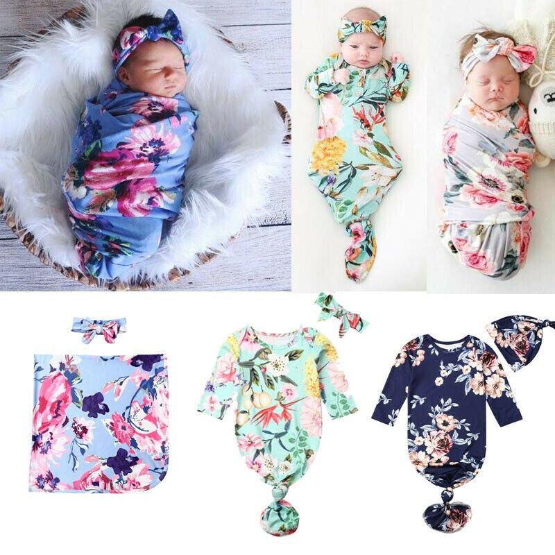 Emmababy 2PCS Newborn Baby Infant Swaddle Wrap Blanket Sleeping Bag Headband