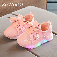 Size 21-30 Sneakers Luminous Kids Toddler Boys Shoes Sneakers Wear-resistant Sneakers chaussures homme clignotant Kids Led Shoes cheap ZoWinGi 13-24m 25-36m 4-6y Mesh (Air mesh) CN(Origin) Four Seasons Breathable Lighted Anti-Slippery unisex Cow Muscle Fits true to size take your normal size