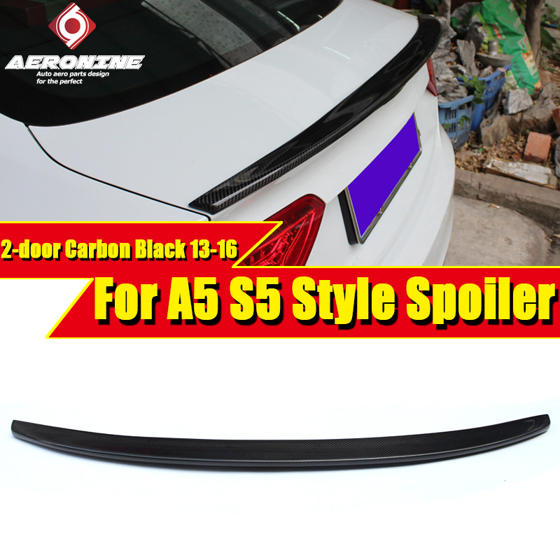 Задний спойлер багажника из углеродного волокна для Audi A5 Coupe, задний спойлер для багажника, задний спойлер для крыла губ S5, стильный 2 дверный