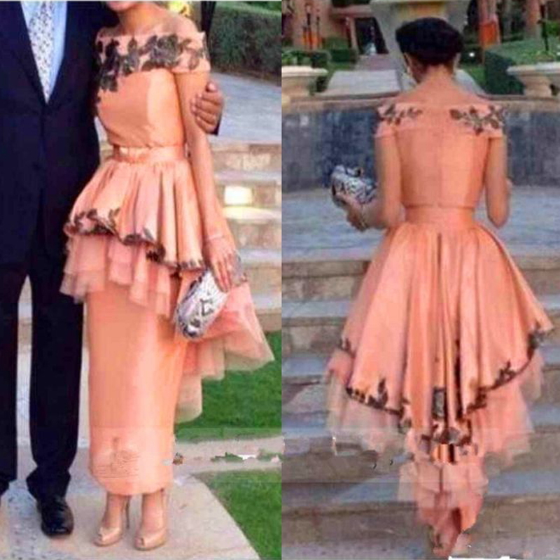 Arabic Style Women Formal Off The Shoulder Appliques Lace Dubai Zipper Back Ankle Length Peach Prom Gown Mother Of Bride Dresses