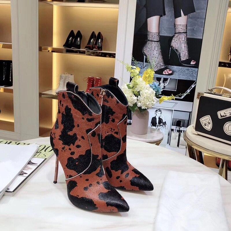 Г., ботильоны из конского волоса и коровьей кожи Зимняя обувь из натуральной кожи женские ковбойские ботинки на высоком каблуке-шпильке без застежки - Цвет: Коричневый