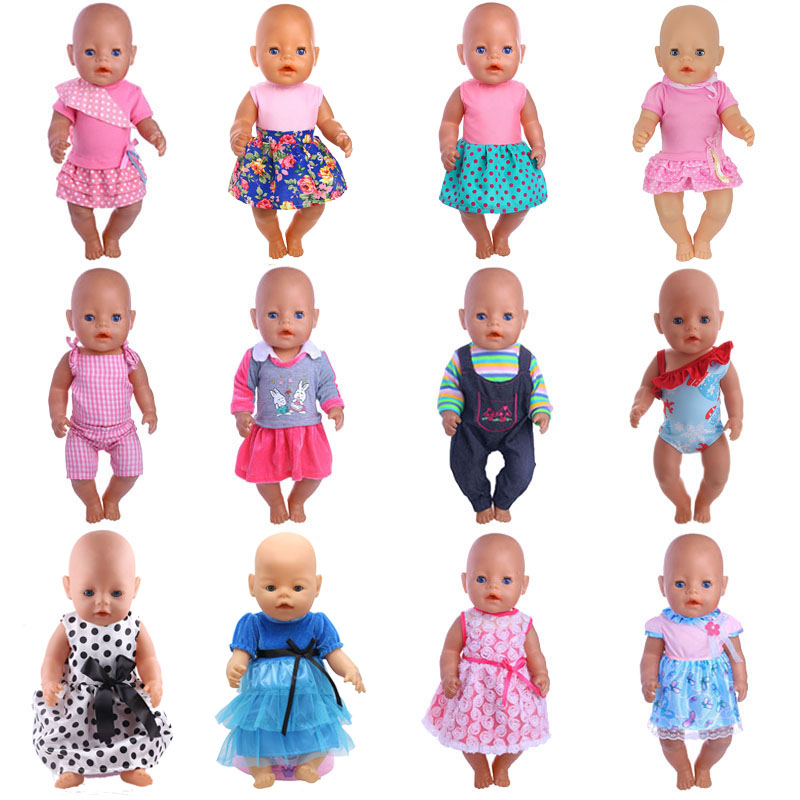 Doll Clothes Skirt Suits 15 Styles For 18 Inch American Doll & 43 Cm Baby Doll For Generation Girl`s Toy Doll Accessories
