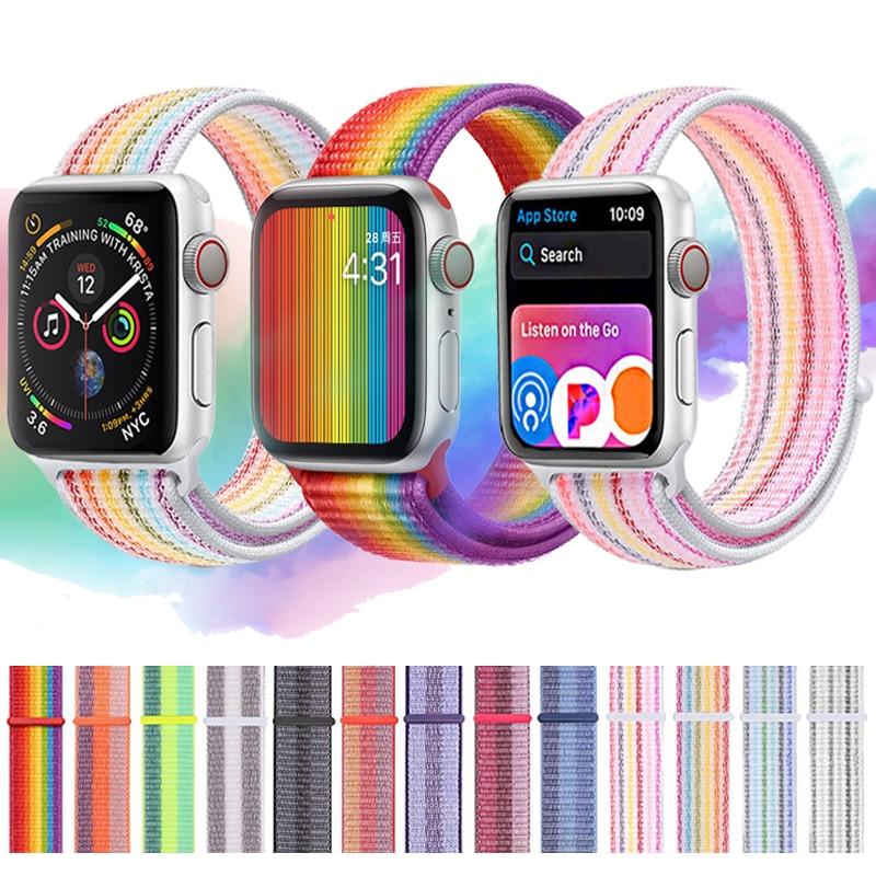Strap For Apple Watch Band Apple Watch 5 44mm 40mm Iwatch 4 3 2  Band 42mm 38mm Sport Loop Rainbow Nylon Loop Bracelet Watchband