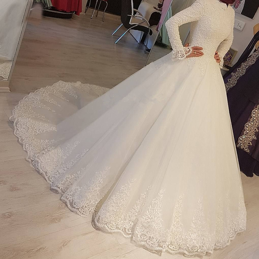 2020 White Arabic Muslim Wedding Dresses Princess High Neck Long Sleeves Lace Appliques Bridal Dresses Robe De Mariage