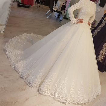 2020 White Arabic Muslim Wedding Dresses Princess High Neck Long Sleeves Lace Appliques Bridal Dresses Robe De Mariage