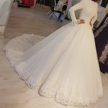 2021 White Arabic Muslim Wedding Dresses Princess High Neck Long Sleeves Lace Appliques Bridal Dresses Robe De Mariage