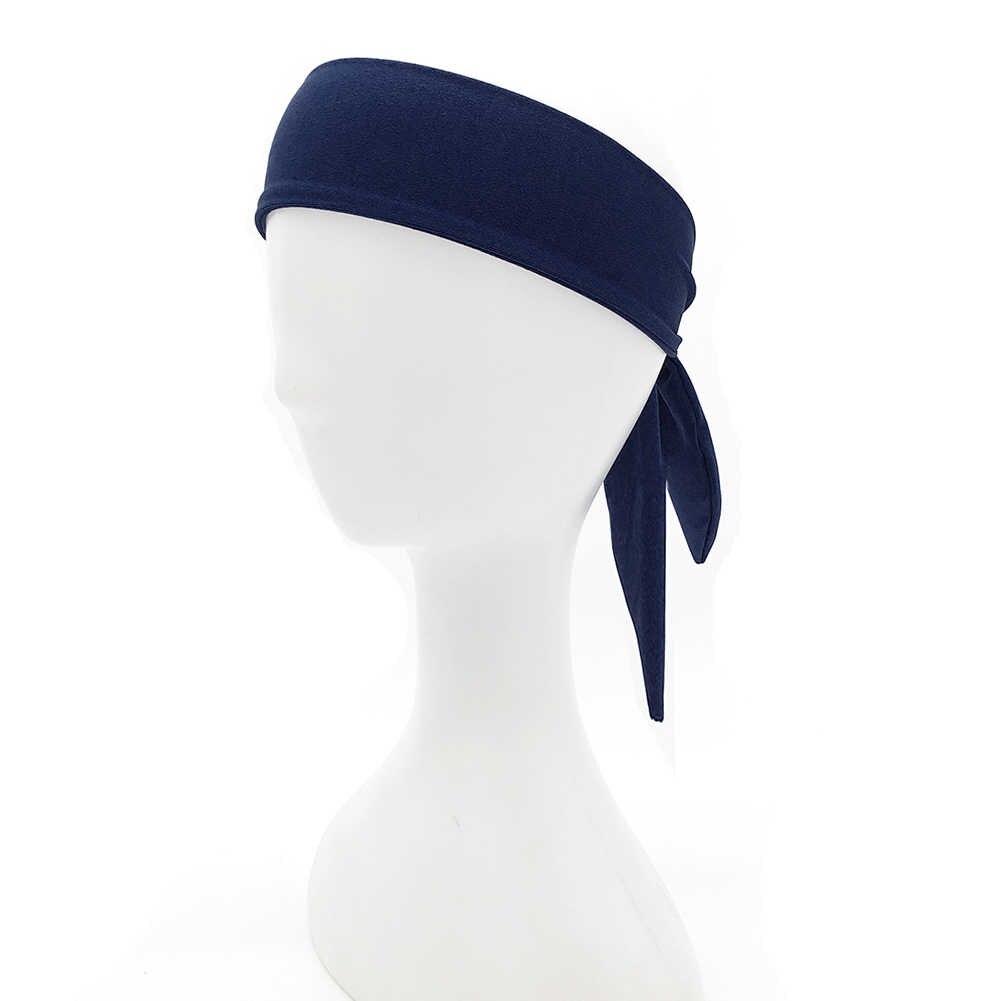 Unisex sport na świeżym powietrzu joga potu z pałąkiem na głowę elastyczna opaska do włosów Run tenis Fitness związany zespół jednolity kolor szybkie suche akcesoria do włosów
