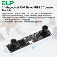 Synchronization 1.3 Megapixel 960P HD CMOS OV9750 MJPEG 60fps Stereo Camera Module 3D USB2.0 Webcam Video Camera Board