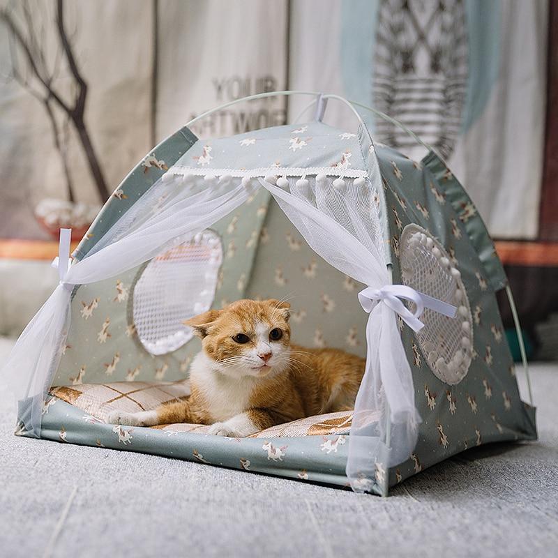 Gato quente do inverno cama dobrável pequenos gatos tenda casa gatinho para o cão cesta camas bonito casas de gato casa coxim pet canil produtos 4