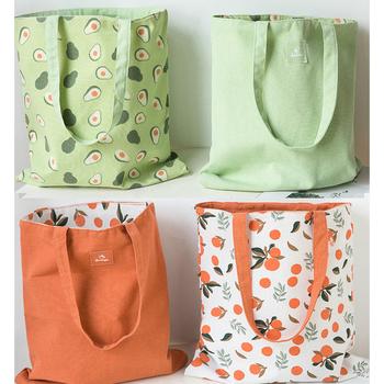 Bawełniana torba na zakupy tkanina dwustronna podwójna torebka bawełniana i lniana kieszeń torba na zakupy torba na zakupy torba na zakupy tanie i dobre opinie CN (pochodzenie) Jedwab (10) SALON Ekologiczne Składane Bawełna Z rolką Płaska Prostokątne Na rozmaitości 40cm*36cm