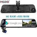 Автомобильный видеорегистратор HGDO, 12 дюймов, 4G ADAS, 4 + 32 ГБ, Android 8,1, зеркало заднего вида, FHD 1080P, Wi-Fi, GPS, видеорегистратор, видеорегистратор