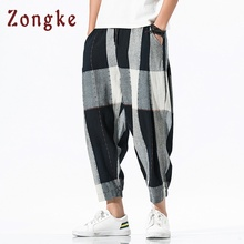 Zongke свободные ботильоны-Длина льняные Мужские штаны для бега Для мужчин брюки уличная гарем Штаны, мужские брюки 5XL в стиле «хип-хоп» ; сезон осень