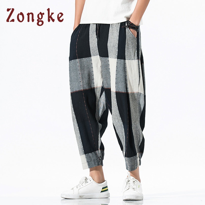 Zongke Loose Ankle-Length Linen Pants Men Joggers Men Pants Streetwear Harem Pants Men Trousers 5XL Hip Hop 2019 Autumn