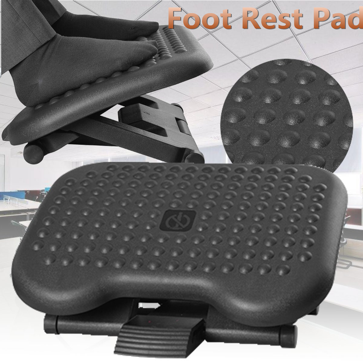 Adjustable Tilting Footrest Under Desk Ergonomic Massager Multifunction Foot Rest Pad Footstool Home Office Health Care Black