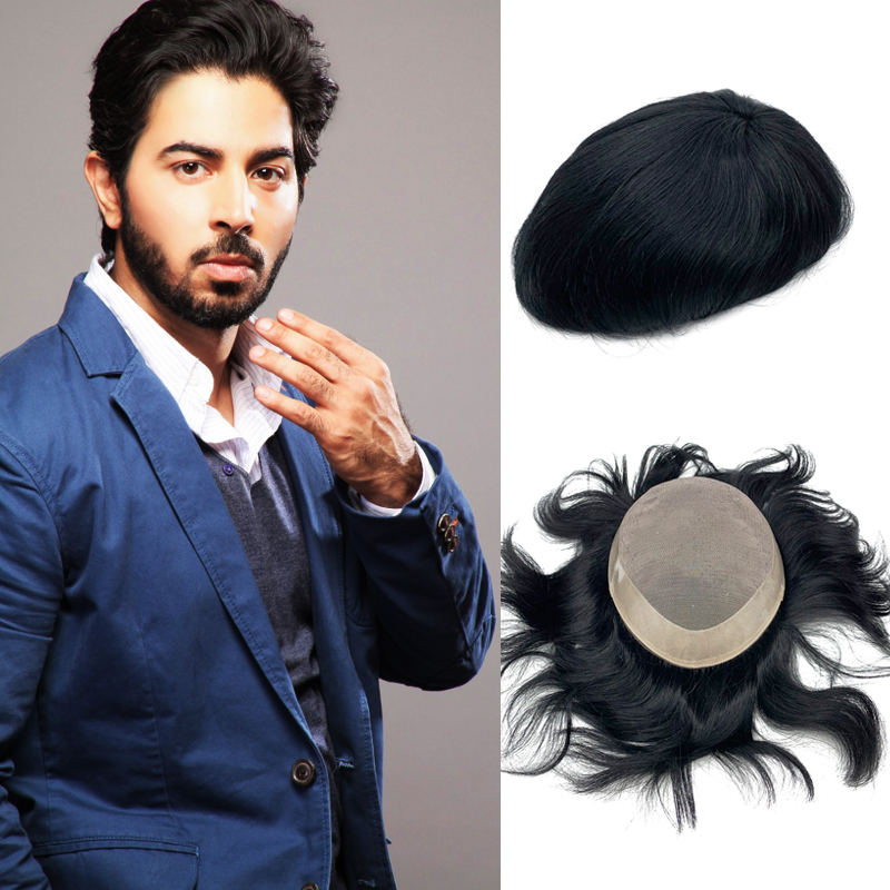 Mens Hair Pieces Base Mono Around NPU Wigs Remy Hair Straight Wave Toupee Invisible Knot