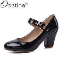 Odetina Women New Round Toe Block High Heel Mary Janes Shoes Ladies Patent Leather Concise Office Lady Buckle Strap Dress Shoes mixed color polka dot mesh upper girl nude shoes square toe black suede buckle mary janes shoes middle chunky heel shoes women