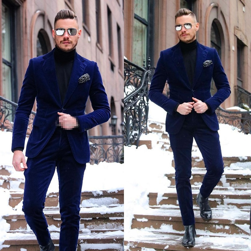 Dark Blue One Button Velvet Mens Prom Suits Notched Lapel Celebrity Wedding Tuxedos For Men Two Pieces Blazers (Jacket + Pant)