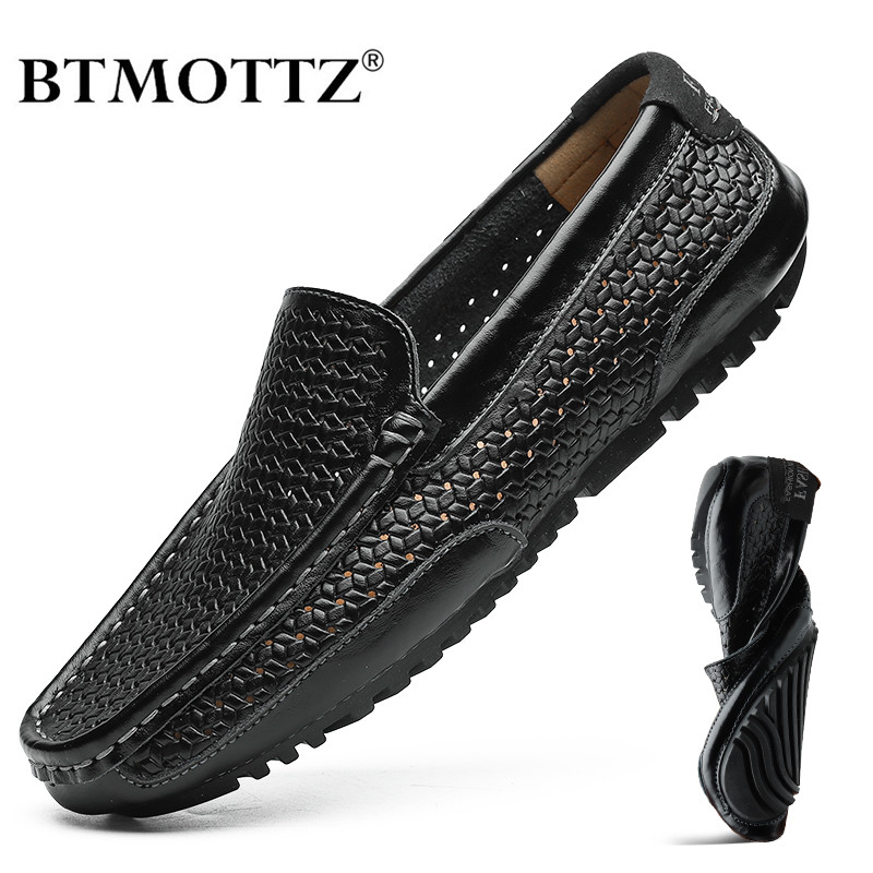 2020 Summer Men Shoes Casual Luxury Brand Genuine Leather Mens Loafers Moccasins Italian Breathable Slip On Boat Shoes BTMOTTZ