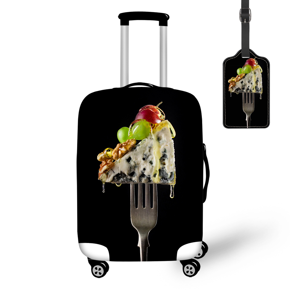THIKIN Creative Salad Cheese Fruit And Fork Print Travel Luggage Cover With Tag Protective Case Easy Convenient For Tourism Bag