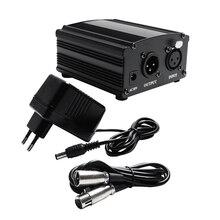 48v potência fantasma para microfone condensador bm 800, com 2m xlr cabo de áudio para microfone 3 cores eu tomada karaokê microfone potência