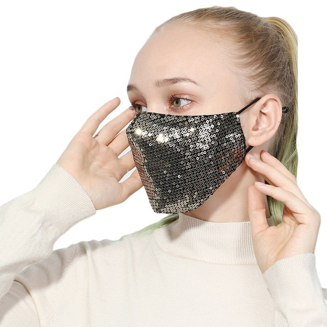 #H20 Sequin mask Cotton Keep Warm anti-haze Masks Shining Party unisex Breathable Mouth Respirator Washable Face Cover Masks 1