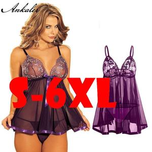 Plus Size Women Sexy Lingerie 6Xl Hot Erotic Perspective Lace Pajamas Sexy Bare Breast Porn Sexy Bottom Woman Underwear D98